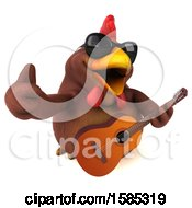 3d Brown Chicken Holding A Guitar On A White Background