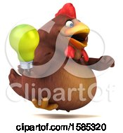 Poster, Art Print Of 3d Brown Chicken Holding A Light Bulb On A White Background