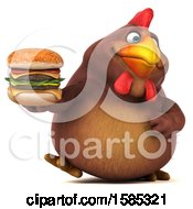 Poster, Art Print Of 3d Brown Chicken Holding A Burger On A White Background