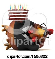 Poster, Art Print Of 3d Brown Business Chicken Holding A Birthday Cake On A White Background
