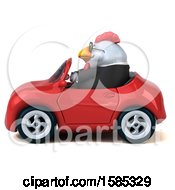 Poster, Art Print Of 3d White Business Chicken Driving A Convertible On A White Background