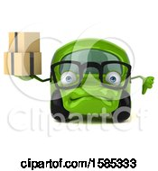 Clipart Of A 3d Green Car Holding Boxes On A White Background Royalty Free Vector Illustration
