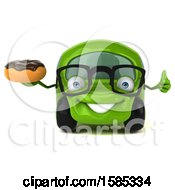 Clipart Of A 3d Green Car Holding A Donut On A White Background Royalty Free Vector Illustration