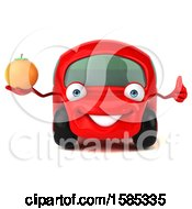 Clipart Of A 3d Red Mechanic Car Holding An Orange On A White Background Royalty Free Vector Illustration