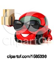 Clipart Of A 3d Red Mechanic Car Holding Boxes On A White Background Royalty Free Vector Illustration