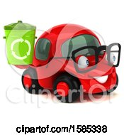 Clipart Of A 3d Red Mechanic Car Holding A Recycle Bin On A White Background Royalty Free Vector Illustration