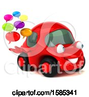 Clipart Of A 3d Red Mechanic Car Holding Messages On A White Background Royalty Free Vector Illustration