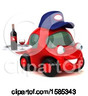 Clipart Of A 3d Red Mechanic Car Holding Wine On A White Background Royalty Free Vector Illustration