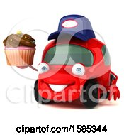 Clipart Of A 3d Red Mechanic Car Holding A Cupcake On A White Background Royalty Free Vector Illustration