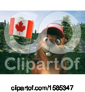 Poster, Art Print Of 3d Beaver Holding A Canadian Flag
