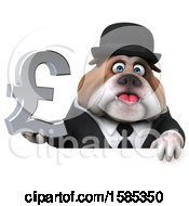 Clipart Of A 3d Gentleman Or Business Bulldog Holding A Pound Currency Symbol On A White Background Royalty Free Vector Illustration