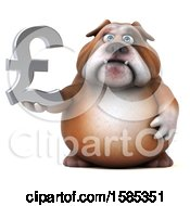 Clipart Of A 3d Bulldog Holding A Pound Currency Symbol On A White Background Royalty Free Vector Illustration