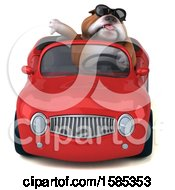 Clipart Of A 3d Bulldog Driving A Convertible On A White Background Royalty Free Vector Illustration