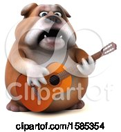3d Bulldog Playing A Guitar On A White Background
