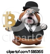Clipart Of A 3d Gentleman Or Business Bulldog Holding A Bitcoin Symbol On A White Background Royalty Free Illustration