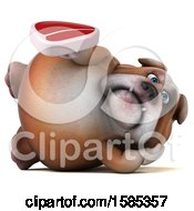 Clipart Of A 3d Bulldog Holding A Steak On A White Background Royalty Free Illustration
