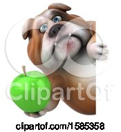 Clipart Of A 3d Bulldog Holding An Apple On A White Background Royalty Free Illustration