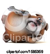 Clipart Of A 3d Bulldog Holding A Wrench On A White Background Royalty Free Illustration