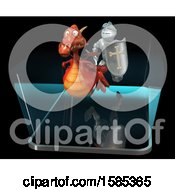 3d Knight Chasing A Dragon Over A Smart Phone Screen