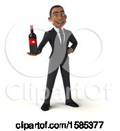 3d Black Business Man Holding Wine On A White Background