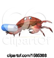 3d Crab Holding A Pill On A White Background