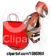 3d Crab Holding A Shopping Bag On A White Background