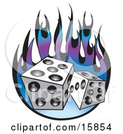 Pair Of Dice Over Purple And Blue Flames Clipart Illustration