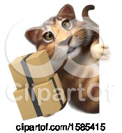 Clipart Of A 3d Tabby Kitty Cat Holding Boxes On A White Background Royalty Free Illustration