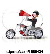 3d White And Black Clown Biker Riding A Chopper Motorcycle On A White Background