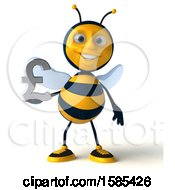 Clipart Of A 3d Male Bee Holding A Pound Currency Symbol On A White Background Royalty Free Vector Illustration
