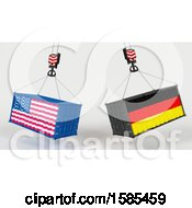 Clipart Of 3d Hoisted Shipping Containers With American And German Flags Royalty Free Illustration