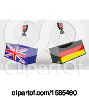 Clipart Of 3d Hoisted Shipping Containers With British And German Flags Royalty Free Illustration
