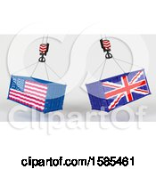 Clipart Of 3d Hoisted Shipping Containers With American And British Flags Royalty Free Illustration
