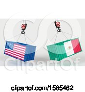 3d Hoisted Shipping Containers With American And Mexican Flags