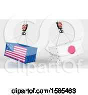 Clipart Of 3d Hoisted Shipping Containers With American And Japanese Flags Royalty Free Illustration