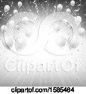 Poster, Art Print Of Silver Burst Background With Party Balloons And Confetti