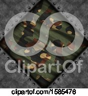 Clipart Of A Diamond Camouflage Frame On Metal Royalty Free Illustration