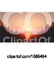 Clipart Of A 3d Ocean Sunset With Forest Royalty Free Illustration