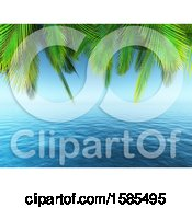 3d Seascape With Palm Tree Branches