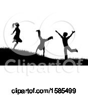 Black And White Silhouetted Children Playing Outdoors