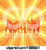 Poster, Art Print Of Silhouetted Group Of Party People Over A Burst And Halftone