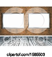 Clipart Of A Brick Wall With 3d Blank Frames Over A Wood Floor Royalty Free Illustration