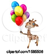 Clipart Of A 3d Happy Giraffe Holding Party Balloons On A White Background Royalty Free Illustration