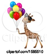 Clipart Of A 3d Happy Giraffe Holding Party Balloons On A White Background Royalty Free Illustration by Julos