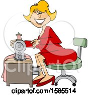 Cartoon Happy Seamstress Woman Sewing A Dress