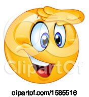 Clipart Of A Yellow Emoji Viewing With A Hand Over His Eyes Royalty Free Vector Illustration