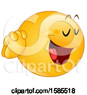 Clipart Of A Yellow Emoji Holding His Hands To His Face And Saying Yes Please Royalty Free Vector Illustration
