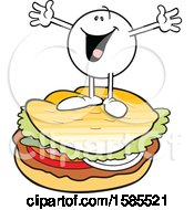 Clipart Of A Cartoon Happy Moodie Character On Top Of A Burger Royalty Free Vector Illustration