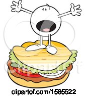 Clipart Of A Cartoon Moodie Character On Top Of A Burger Royalty Free Vector Illustration