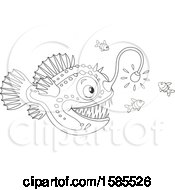 Clipart Of A Lineart Anglerfish Royalty Free Vector Illustration